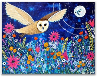 Moon Owl with Wildflowers - Barn owl - Art Print - Art by Regina Lord