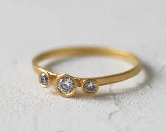14k Gold Large Three Cone Diamond Ring, Diamond Engagement Ring, Three Stone Bezel Ring, Three Diamond Ring, Dainty Bezel Engagement Ring