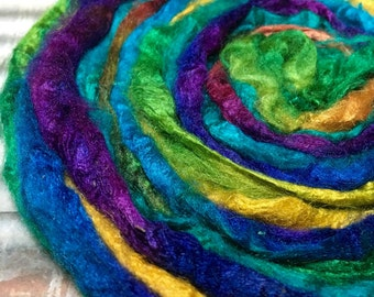 Hand dyed Silk Fiber for Felting and Spinning 24 grams