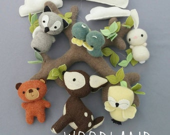 Woodland Baby Mobile - Nursery, Unisex, Neutral, Decor, Mobile, Clouds, Animals, Forest, Baby, MADE TO ORDER