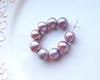Lavender Nucleated Kasumi Like Freshwater Pearl - (9) Pearls