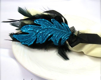 Victorian Turquoise Blue Sparkle Feather Napkin Rings for New Year's Eve