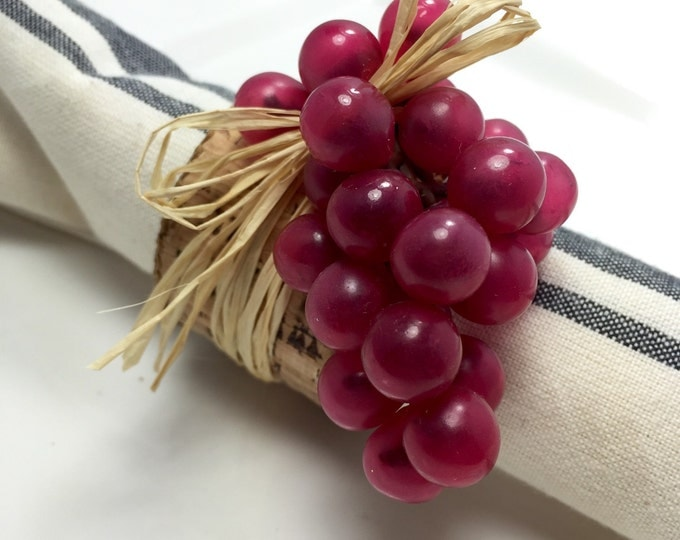 Featured listing image: Napkin Ring:  Burgundy Grapes with cork ribbon and raffia - housewarming -Dinner Party