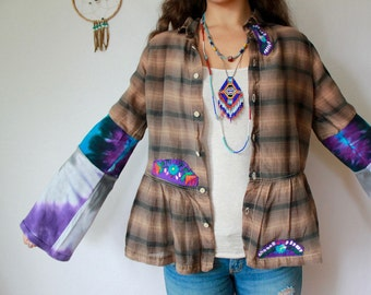 Brown Purple Mexican Embroidered Upcycled Plaid Bell Sleeve Button Up Blouse  Top Shirt Women's Recycled Clothing Peplum Size Medium