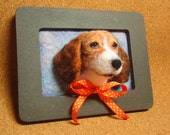BoBo the Beagle Framed Needle-Felted Portrait