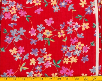 Red cotton fabric Red background 43 inches wide 1 yard, Sold as one piece, Flowers in Yellow Blue Pink Violet, Green leaves white accents