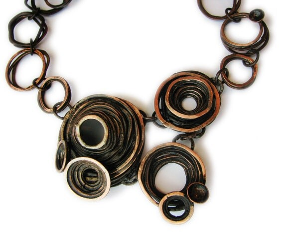 Copper Necklace - Barnacle Bunches - Oxidized copper - forged from copper in my studio - made from scratch