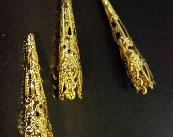 SALE: One dozen fancy gold aglets.  SCA Victorian Steampunk Wedding