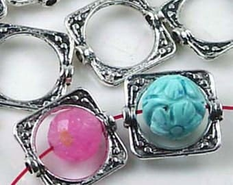 Silver Pewter Square Frame Beads 15mm - Lead Free - (20 pc) (p119)
