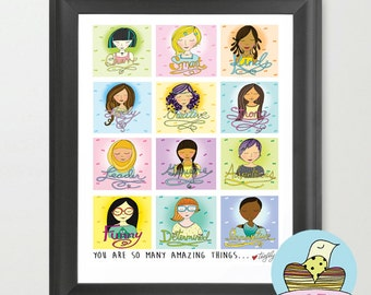 Amazing Girls...8x10 Illustrated Print ... Girl Power...Colorful