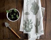 Cactus Tea Towel - Moss