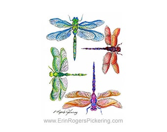 Dragonflies 8x10 Art Print 100 Day Project