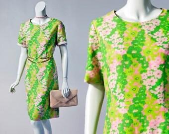 70s Schapira green & pink floral shift dress | large