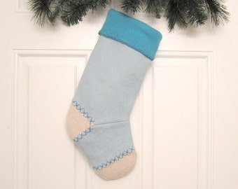 Aqua Customized Christmas Stocking Personalized Holiday Decoration Handcrafted from Felted Wool Sweaters no685