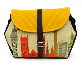 Waxed Canvas Messenger Bag / Hexagon Messenger in Yellow Waxed Canvas and Vintage London Tea Towel READY TO SHIP