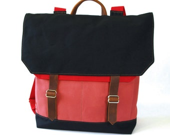 Waxed Canvas Backpack / Recycled Red Wool & Bubblegum Canvas with Minimalist Leather Closure
