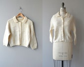 Bitty Bows cardigan | vintage 1950s cardigan | hand knit cream wool sweater