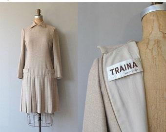 25% OFF SALE Teal Traina wool dress   vintage 60s dress   designer wool 1960s dress