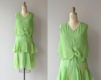 Key Lime dress | vintage 1920s dress | silk chiffon 20s dress