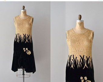 25% OFF.... Wish Upon dress | velvet and lace 20s dress • vintage 1920s dress