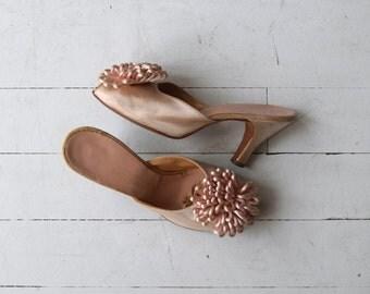 Pom Pom satin mules | vintage 1950s boudoir heels | pink 50s shoes 6.5