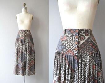 Modern Ikat skirt | vintage yoked midi skirt | 1980s printed cotton skirt