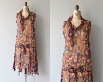 Feuilles d'Automne dress | vintage 1920s dress | silk floral 20s dress