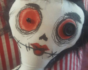 Gothic Dorthy Tim Burton Inspired Halloween Handmade Doll