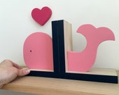 Whale Bookends, Pink and Navy Blue, Girls Nautical Room Decor, Nautical Nursery Decor