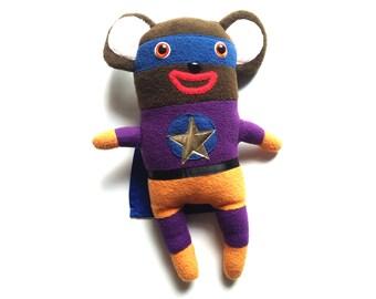 SALE Bear Super Hero plush, Recycled Fabrics