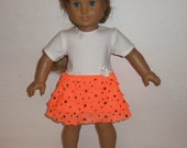 18 inch Doll Ruffled Dress,  Sparkling Orange Ivory, Modern,  American Made, Girl Doll Clothes, Special Occasion