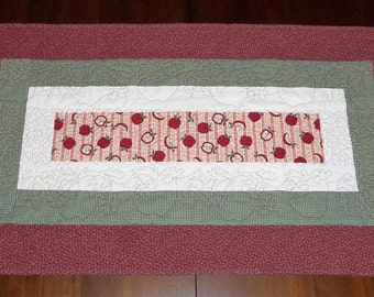 Quilted Table Runner, Apple Table Topper, Table Decor, Fabric Centerpiece, 19x34 inches, Sale Priced, Machine Quilted, Apples All Over
