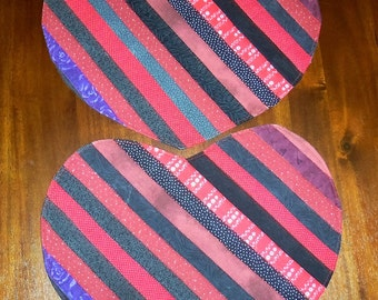 Quilted, Heart Placemats, Red  Black, Strippy Placemats, Set of Two, 13x15 Inches,Dining Table Decor, Machine Quilted