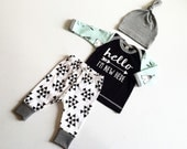 Newborn Baby Boy Coming Home Outfit, Boys Clothing, Pants Shirt with Matching Hat, Arrows, Tribal, Teepee, Hello I'm New Here