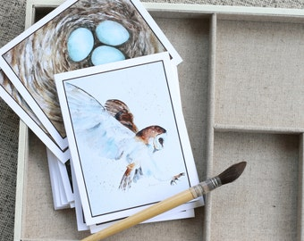 BLANK cards Bird art Card Pack II Mixed Bird CARDS set watercolor Bird Notecards vintage Bird Cards) 8 card owl nest Variety Art Prints