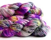 Purple People Eater 463 yards on 'Posh' Sock Fingering Yarn/ 4 ply merino yarn, handpainted sprinkle