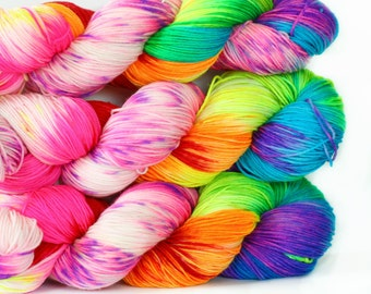 Rainbow Unicorn 463 yards on 'Posh' Sock Fingering Yarn/ 4 ply merino yarn, handpainted sprinkle