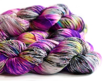 Purple People Eater 463 yards on 'Posh' Sock Fingering Yarn/ 4 ply merino yarn, handpainted sprinkle