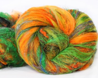 Halloween Carnival 3.2 oz  Wool - Merino- Art Batt // Wool Art Batt for spinning or felting