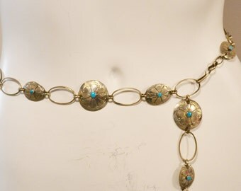 Vintage Belt Chain with Turquoise Western Inspired