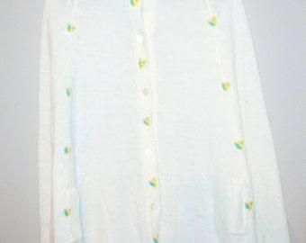 Vintage White Cape / Shawl Scattered Pastel Flower Buds