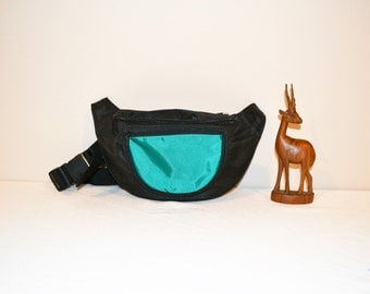 Vintage Fanny Pack Black with Green/ Teal