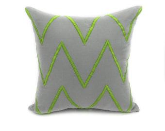Chevron Decorative Pillow Cover, Modern Geometric Couch Pillow, Gray Linen Green Chevron Embroidery, Contemporary Accent Pillow, Toss Pillow