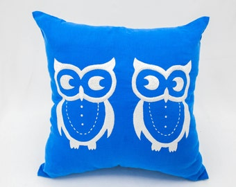 Owls Throw Pillow Covers, Bird Decorative Pillow, Owl Couch Pillow, Blue Linen pillow, White Owls Embroidery, Home Decor, Pillow Accent