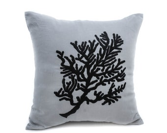 Coral Decorative Pillow Cover, Gray Linen Black Coral Embroidery, Coral Couch Pillow, Nautical Decor, Cottage Pillow, Coral Decor, Cushion
