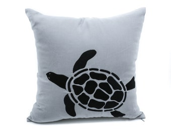 Sea Turtle Throw Pillow Cover, Decorative Pillow Cover, Nautical pillow, Gray Linen Black Turtle Embroidery, Couch Pillow, Cottage Decor