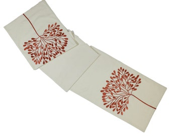 Tree Table Runner, Linen Table Runner, Modern Table Linen, Long Table Runner, Natural Linen Red Tree Embroidery, Custom Wedding Table Linen