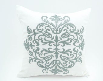 Damask Pillow Cover, White Linen Silver Damask Embroidery, Home Living Decor, Classic Home pillow, Pillow Shams, Cushion Cover