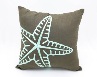 Starfish Decorative Pillow Cover, Taupe Brown Linen Turquoise Starfish Embroidery, Nautical Pillow, Cottage Beach Decor, Sea Life Pillow