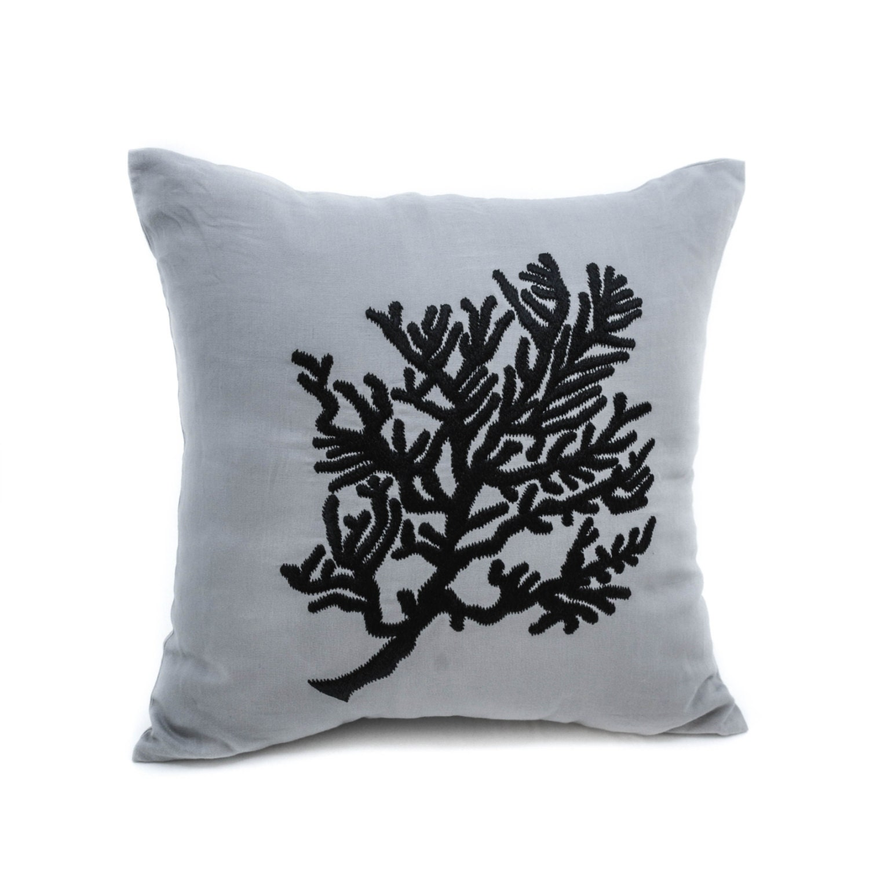 Coral Decorative Pillow Cover Gray Linen Black Coral